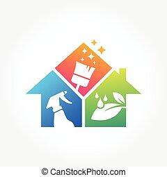 business, maison, nettoyage, conception, service, logo, bâtiment, concept, eco, amical