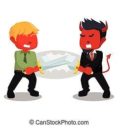 business, mal, combat, épée, homme affaires, utilisation, rouges