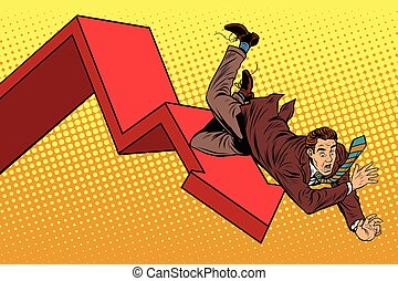 Business male financial collapse, fall and ruin pop art retro vector illustration
