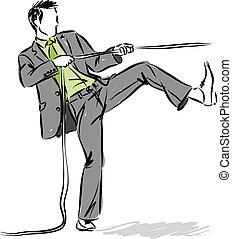 business man 2 pulling rope vector illustration.eps