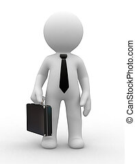 Business man - 3d business man hold a black briefcase