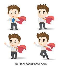 Cartoon set of businessman act as superman