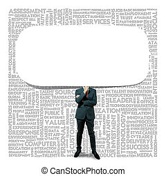 Business man and Blank speech bubble on background
