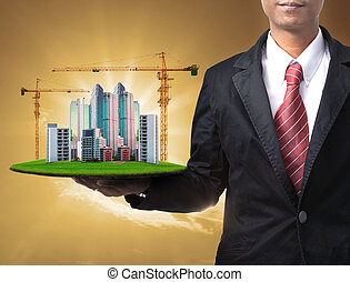 business man and building construction