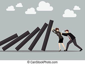 Business man and business woman pushing hard against falling...