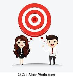 Business man and business woman talk with target to success. Business man and businesswoman with target in his think bubble. vector, illustrationn