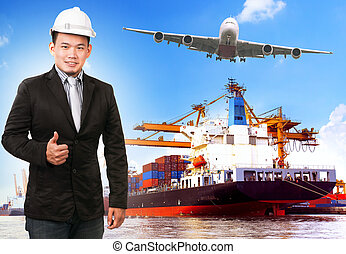 business man and comercial ship with container on port...