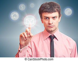 Business man and digital button