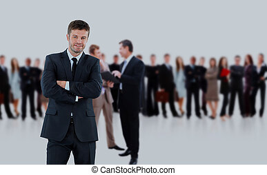 business man and his team isolated over a white background.