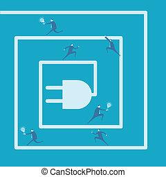 Business man and idea bulb