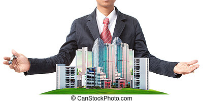 business man and modern building on green grass field use...