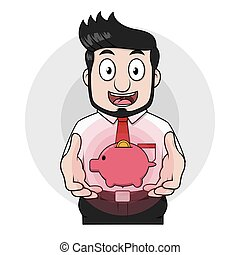 Business man and piggy bank