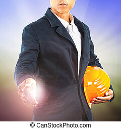 business man and safety helmet