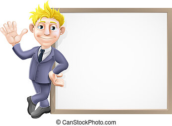Business man and sign - An illustration of a smiling and...