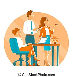 Business man and two girls in the process of working in the office.