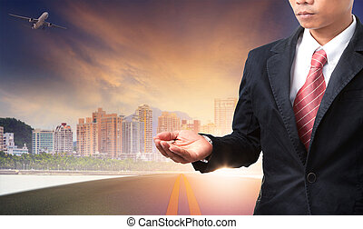 business man and urban building background