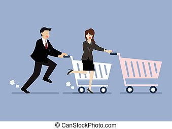 Business man and woman are shopping with a cart