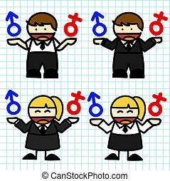Business man and woman cartoon.