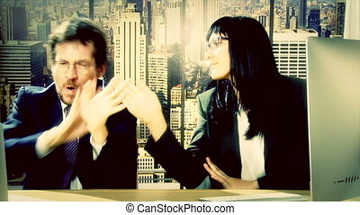 Business man and woman dancing