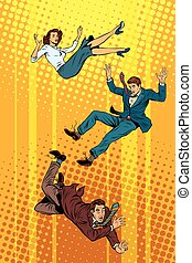 Business man and woman falling down
