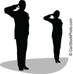 Business man and woman give salute isolated on white...