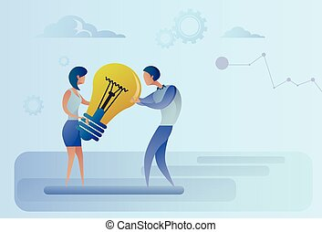 Business Man And Woman Holding Light Bulb Sharing New Creative Idea Concept