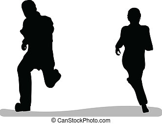 business man and woman running isolated on white background