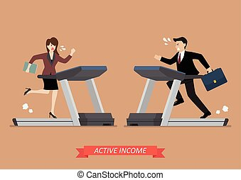 Business man and woman running on a treadmill