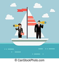 Business man and woman sailing and looking for future. ...