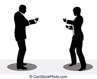 business man and woman silhouette on phone