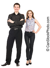 Business man and woman smiling isolated on white background