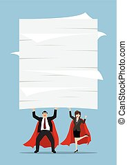 Business man and woman superhero lifting a lot of documents