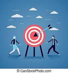 business man and woman target strategy