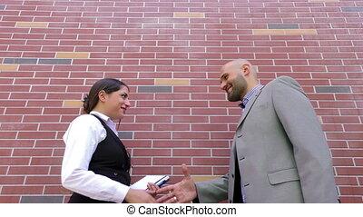 Business Man and Woman Teamwork Tal