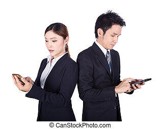 business man and woman using smartphone isolated on white