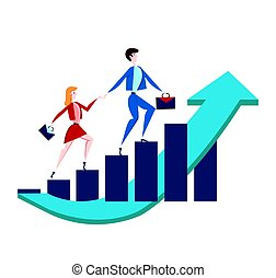 Business man and woman with briefcases walking up a rising graph of income growth. Vector illustration, isolated on white.