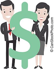 Business Man and Woman with Dollar Sign
