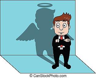 Business man angel shadow