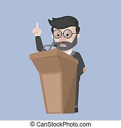 Business man angry at podium
