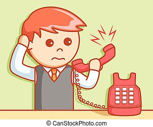 Business man angry phone illustrat