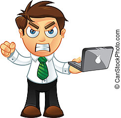 Business Man - Angry With Laptop