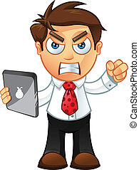 Business Man - Angry With Tablet