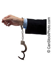 Business man arm in handcuffs