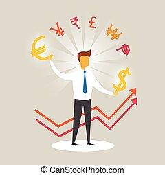 Business Man Arrow Up Currency Sign Success Profit Concept