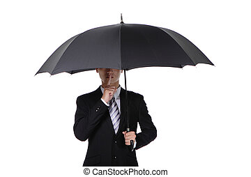 Business man asking for silence with umbrella