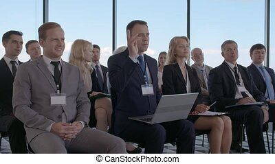 Business man asking question - Business man asking a...