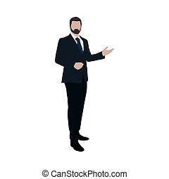 Business man at presentation. Flat vector illustration