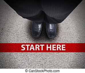 Business Man at Starting Line Road Path - A business man is...