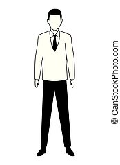 business man avatar cartoon character black and white