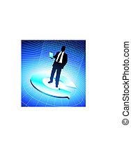 Business man background binary code